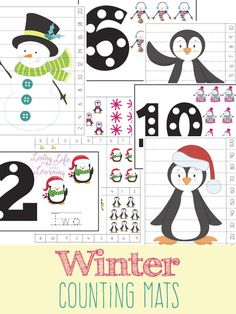 Need a fun way to count with your kids? Fun winter counting mats for toddlers and preschoolers, get counting with these fun winter counting printables and have fun with numbers. It comes with cute counting cards and counting puzzles as well.  #winter #counting #preschool #math