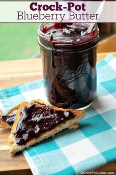 Crock-Pot Blueberry Butter Crock-Pot Blueberry Butter – Just 4 ingredients in this easy recipe for Crock-Pot Blueberry Butter. Fresh juicy blueberries, sugar, cinnamon and lemon juice make a delicious spread for your morning toast! [Gluten Free, Vegan, Ve Crock Pot Recipes, Crock Pot Cooking, Canning Recipes, Slow Cooker Recipes, Blueberry Recipes For Canning, Blueberry Preserves Recipes, Peach Preserves Recipe, Blackberry Recipes, Crock Pot Desserts