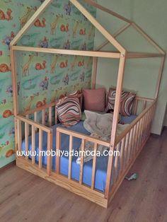 Montessori Yer Yatağı Kapılı Ahşap Cilalı 120x200