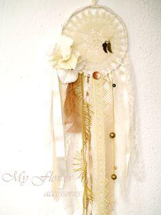 Cream White Lace Dream CatcherCrochet Ivory by MyFlowerAccessories