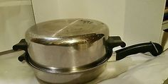 Saladmaster 11 inch skillet w/ domed lid 18-8 tri-clad Stainless Steel Waterless