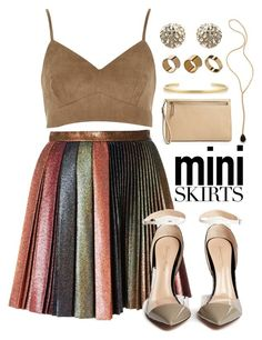 """Skirt"" by may-calista ❤ liked on Polyvore featuring Marco de Vincenzo, Gianvito Rossi, Jacquie Aiche, Alexis Bittar, Jennifer Fisher, Warehouse, Halogen and MINISKIRT"
