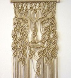 FREE WORLDWIDE SHIPPING Macrame wall hanging - Dryad - unique handmade panel for home decor. Handmade and original design by Evgenia Garcia. Color: tan Sizes: Dowel width – cm) Panel height from dowel to longest end – cm) Cord diameter 4 mm NOTE: The Macrame Design, Macrame Art, Macrame Projects, Macrame Knots, Macrame Curtain, Micro Macramé, Ideias Diy, Macrame Tutorial, Macrame Patterns