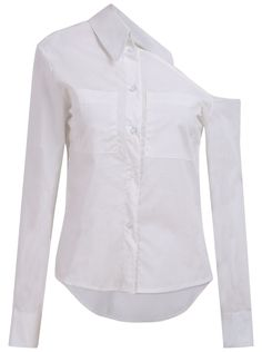 very unusual! cool!  White One-Shoulder Pockets Dipped Hem Blouse 20.83