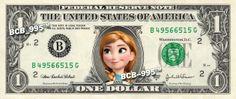 Disney's Anna (Frozen) on REAL Dollar Bill - 1.00 Celebrity Custom Cash