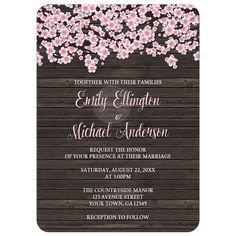 Wedding Invitations - Cherry Blossom Rustic Wood
