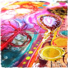 Mixed media art journal tools and supplies. Traci Bautista is very talented, her style is very colorful and organic and attractive.