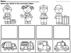 Community Workers / My School Community Helpers { printable books & worksheets } This packet includes posters, a printable book, and worksheets to teach your Kindergarten or First Grade students about Community Helpers! Community Helpers Crafts, Community Helpers Worksheets, Community Helpers Kindergarten, School Community, My Community, Printable Preschool Worksheets, Kindergarten Worksheets, Worksheets For Kids, Free Printable