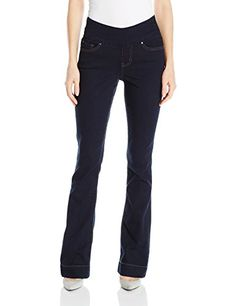 New Trending Denim: Jag Jeans Women's Ella Flare, Dark Indigo, 2. Special Offer: $54.03 amazon.com Made in our comfort denim with our pull-on waist band to keep you smooth and comfortable all day.Fitted through the hip and thigh, the jean opens up at the knee and ends with a beautiful flared leg opening.This dark wash and a plain back pocket for a clean...