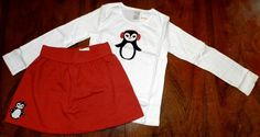 Skirt Outfit Red Gymboree 2pc White Penguin Tee Girl size 7 New #Gymboree #SkirtOutfit2piece