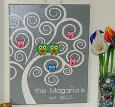 Owl Family Tree Mixed Media Painting  Customized by JBeanCrafts,