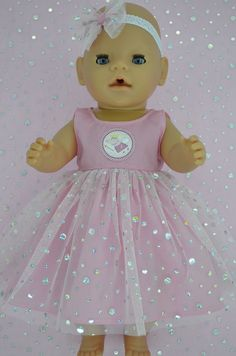Play n Wear Doll Clothes To Fit 17  Baby Born  PINK SEQUIN DRESS~HEADBAND