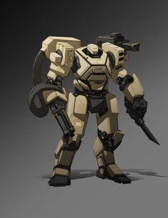 Mech by tomzhao Robot Concept Art, Armor Concept, Armadura Sci Fi, Rpg Cyberpunk, Arte Gundam, Mecha Suit, Humanoid Robot, Cool Robots, Sci Fi Armor