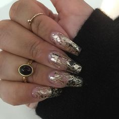 Love my clear with gold foil nails✨ @priscillaonosalon