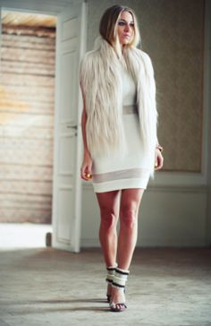 fur vests with white dress