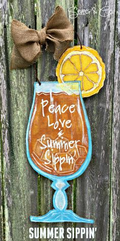 New for Summer 2015, Summer Sippin' burlap door hanger by Severs & Co. $35+shipping. Please visit us at www.facebook.com/seversandco for orders and questions.