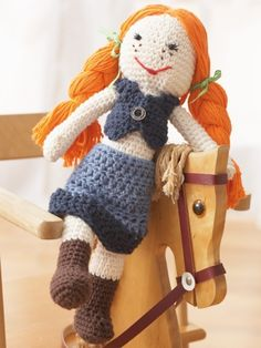 Free Pattern - Lily has gone country! Crochet this fun denim version of your favorite doll.