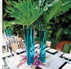 Blue palm leaf centerpiece