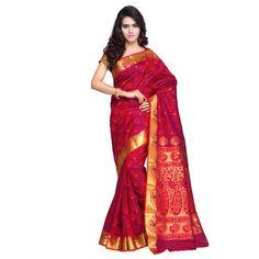 Red Kanchipuram Art Silk Exclusive Paithani theme Border & Rich Zari butta saree