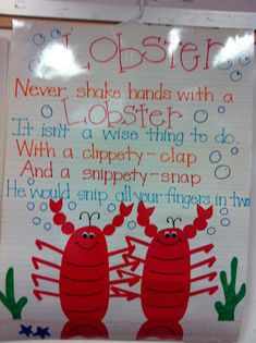 Lobster poem for ocean unit Ocean Themes, Beach Themes, Ocean Poem, Ocean Activities, Ocean Unit, Under The Sea Theme, Finger Plays, Ocean Crafts, Thematic Units