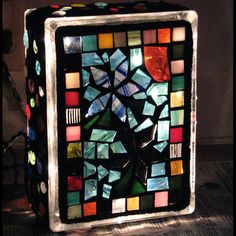 Mosaic Lighted Glass Block by GardensAndCrafts on Etsy, $25.00