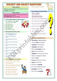 Subject and Object questions - ESL worksheet by Katiana Grammar Book, Grammar Rules, School Worksheets, Grammar Worksheets, English Grammar Exercises, Object Pronouns, Teachers Aide, Writing Tips, Learn English
