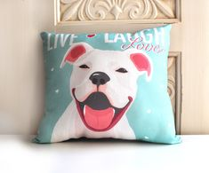 FRICK I HAVE TO HAVE THIS!!!!! Pitbull Terrier Art Pillow Staffordshire Bull by gingereyed, $28.00