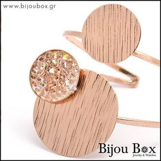 Bijou Box, Bronze Jewelry, Gold Bangle Bracelet, Rose Gold Plates, Druzy Ring, Bangles, Stud Earrings, Stone, Watches