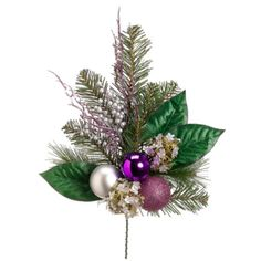 Allstate 19 Artificial Hydrangea and Berry with Purple and Silver Balls Christmas Spray