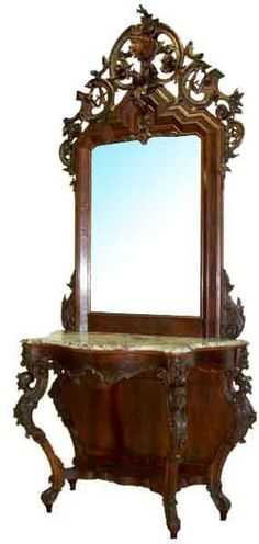 Large Victorian Mahogany Marble Topped Pier Table And Mirror