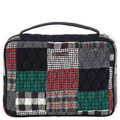 Ivy Book Cover - The Book Cover from our Ivy Collection comes in a sophisticated patchwork of  tartan red, ivy green and crisp black with a jet black microsuede trim, base and strap. The inside lining is a single fabric of black and white micro-check, with contrasting pockets and fabric bookmark in a classic black, white and red tartan. This Book Cover measures 10x2.25x7
