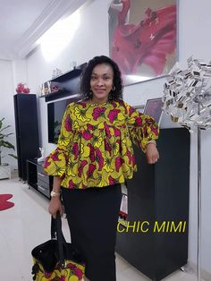 A Classic and a Creative Ankara peplum top makes is one of the most preferred styles among fashionistas we have for you today. This Classic and Creat… African Dresses For Kids, African Wear Dresses, Latest African Fashion Dresses, African Print Fashion, African Attire, Ankara Peplum Tops, African Print Dress Designs, African Blouses, African Traditional Dresses