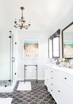 Big Bathroom Ideas Gray Mermaid Tile