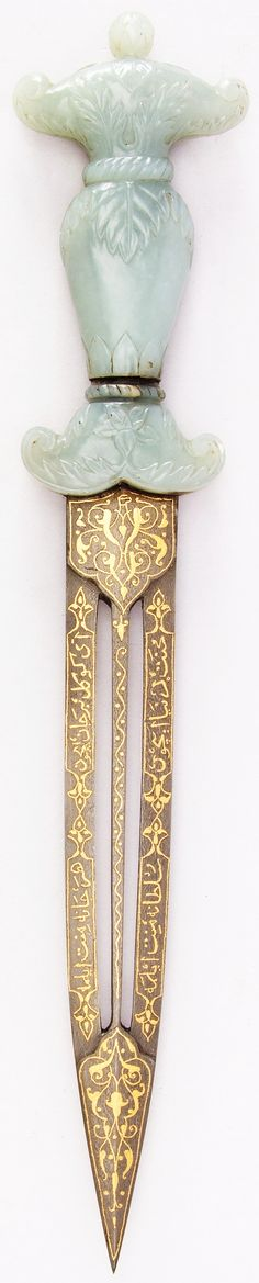 Ottoman dagger, 18th century, jade, steel, gold, copper, shagreen, gemstone, L.13 5/16 in. (33.8 cm); W. 2 1/2 in. (6.4 cm); Wt. 9.1 oz. (258 g), Met Museum, Bequest of George C. Stone, 1935.