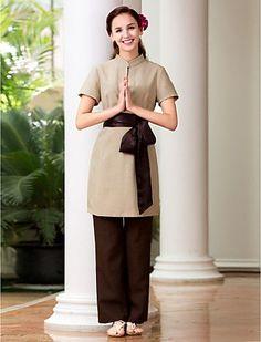Image result for mandarin inspired housekeeping uniforms Salon Uniform, Spa Uniform, Hotel Uniform, Uniform Dress, American Uniform, Housekeeping Uniform, Staff Uniforms, Urban Fashion Women, Uniform Design