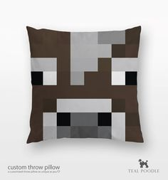 Minecraft Cow Throw Pillow - Mine Craft on Etsy, $36.00