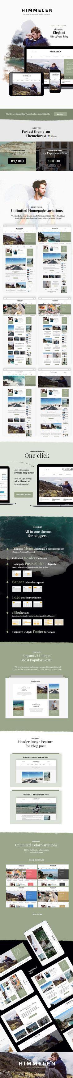 Himmelen - Personal WordPress Blog Theme • Download theme ➝…