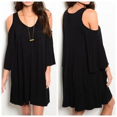 """BLACK KNIT JERSEY DRESS  ON TREND! Flowy jersey knit dress features exposed shoulders, long sleeves and scooped neckline. 65% rayon 35% viscose. Small measures L35"""" B19"""" W20"""" S - 1 M - 2 L - 0 Please comment size needed below.  PLEASE DO NOT BUY THIS LISTING. Allow me to make your separate listing for you or help you make a bundle ❤️.  NO PAYPAL NO TRADES. Price is firm unless bundled. Dresses Long Sleeve"""