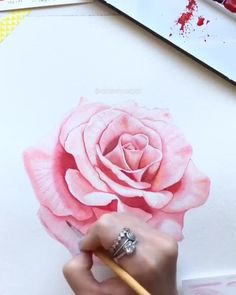 Can you draw with watercolor? let us know in the comments! By Aimz Kessy 💫 Release your creativity with a BONUS eBook Library by buying NIL Tech . Watercolor Video, Watercolor Painting Techniques, Watercolour Tutorials, Watercolor Rose, Watercolor Paintings, Painting Art, Watercolour Drawings, Pink Drawing, Painting Tutorials