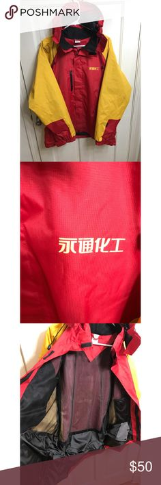 Chinese Goretex Jacket Shell from China 🇨🇳 China Chinese 🇨🇳  The North Face? Ski Jacket, Brand New Red & Yellow XL Gore Tex Material,  Honestly I don't know what those asian Words are (Can Somebody Help me?)  but still a Really Really Dope Colors and Look and the jacket is quality too ... Tags: The North Face, Columbia, Arcteryx, Streetwear china Jackets & Coats Lightweight & Shirt Jackets