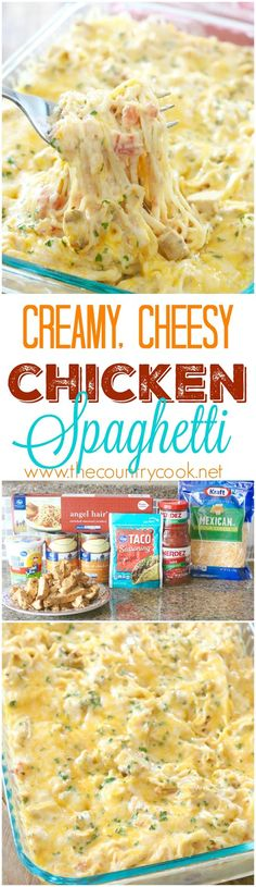 Creamy, Cheesy Chicken Spaghetti recipe from The Country Cook. The *BEST - Creamy, Cheesy Chicken Spaghetti recipe from The Country Cook. The *BEST - Huhn Spaghetti, Chicken Spaghetti Recipes, Spaghetti Squash, Creamy Spaghetti, Pasta Spaghetti, Spaghetti Dinner, Chicken Soups, Spaghetti Casserole, Chicken Spaghetti With Rotel