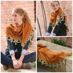 This crochet wrap is worked from the beautiful leaf trim in.