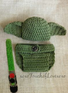 Yoda hat and lightsaber newborn baby photo by xoxoTouchofLovexoxo, $40.00 Perfect for baby shower gift