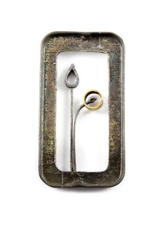 Jo Pond, Planted Frame Brooch, Repurposed steel tin, steel, silver, gold plate | Velvet da Vinci