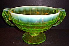 Bowl/Candleholders, Vaseline Opalescent