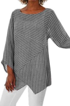 Solid Casual Round Neckline Sleeves Blouses - Gray / S Linen Blouse, Stripes Fashion, Mi Long, Casual T Shirts, Pulls, Types Of Sleeves, Blouses For Women, Ladies Blouses, Long Sleeve Shirts