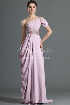 This lilac long prom evening dress features asymmetrical bodice with one sequined strap,  short flutter sleeve formed,  full-covered bias pleats adorned on the cjhiffon bodice,embroidered lace embellished at the waist with slice, draped skirt cascaded flowing down to the end.