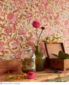 Flower tendrils and blossoms in an Indian style provide a new take on interior design concepts with floral wallpapers. Colours like cream-white, st. Asian Paints, Wallpaper, Mural, Kitchen Wallpaper, Floral Wallpaper, Pattern Wallpaper, Wallpaper Suppliers, Wall Wallpaper, Mural Wallpaper