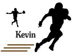 Football player personalized vinyl wall by aluckyhorseshoe on Etsy