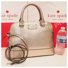 I just discovered this while shopping on Poshmark: New Kate Spade rose gold leather Rachelle SatchelNWT. Check it out! Price: $165 Size: OS, listed by rawrie